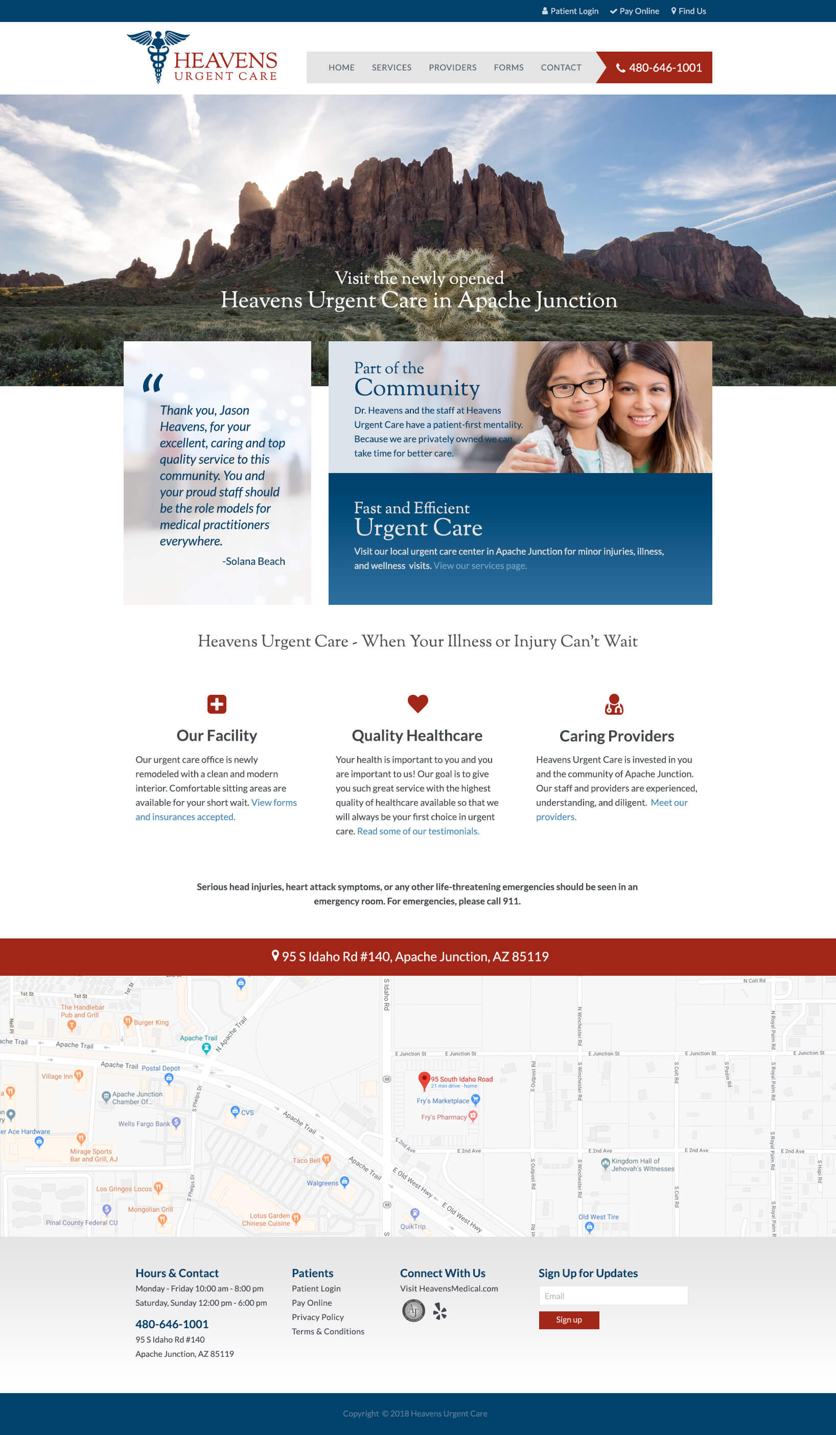 Heavens Urgent Care website mockup