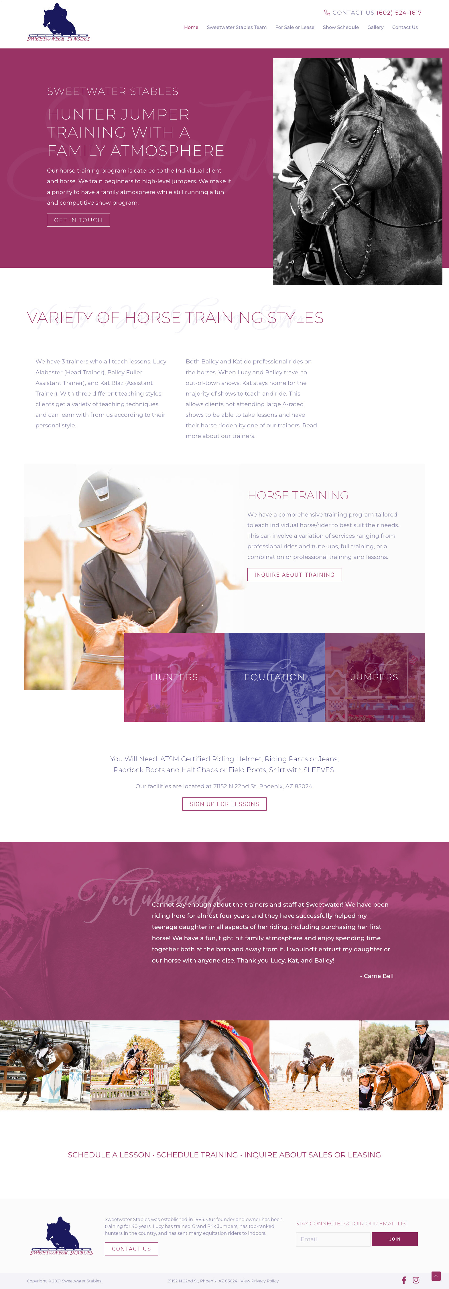 Sweetwater Stables Website Design