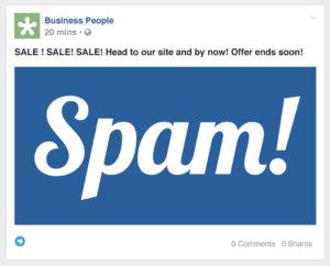 facebook spam mockup