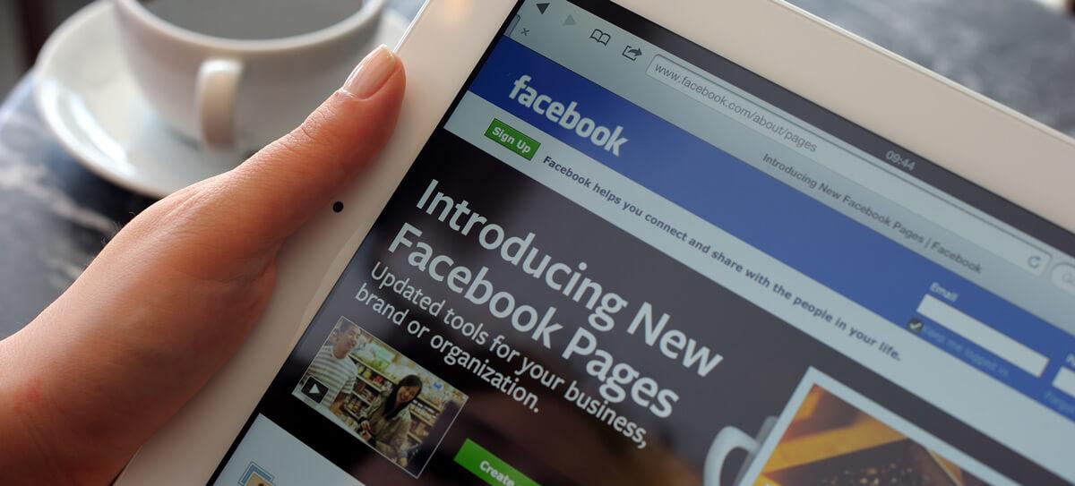 social media page on ipad
