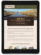 Midbar Ranch website mockup for tablet