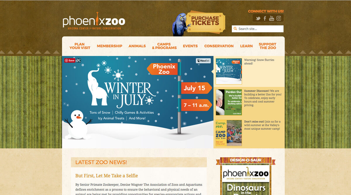 Phoenix Zoo website call to action