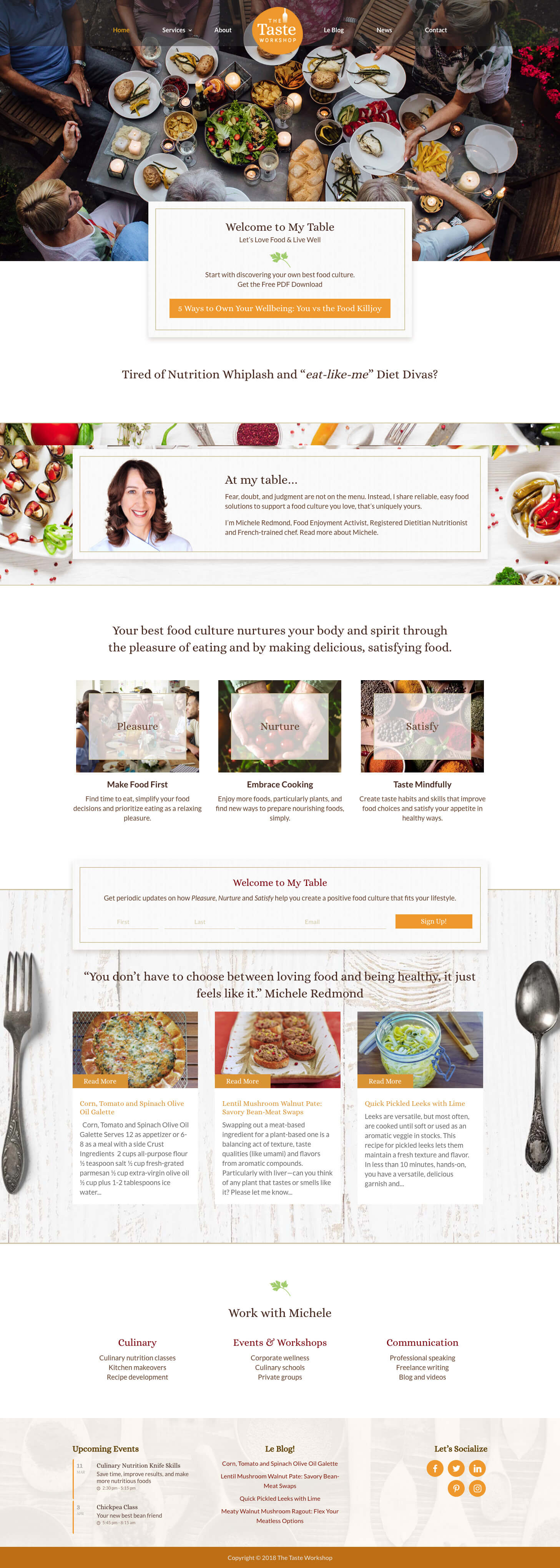 the taste workshop web design concept