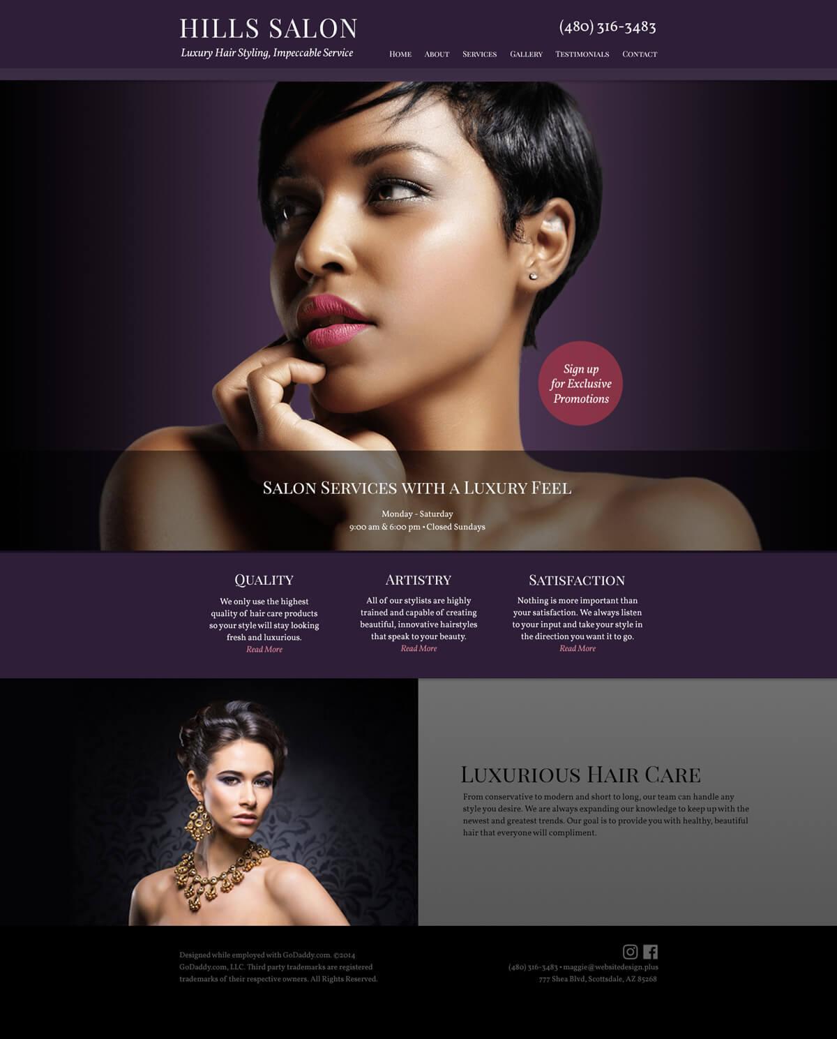 beauty salon web design mockup