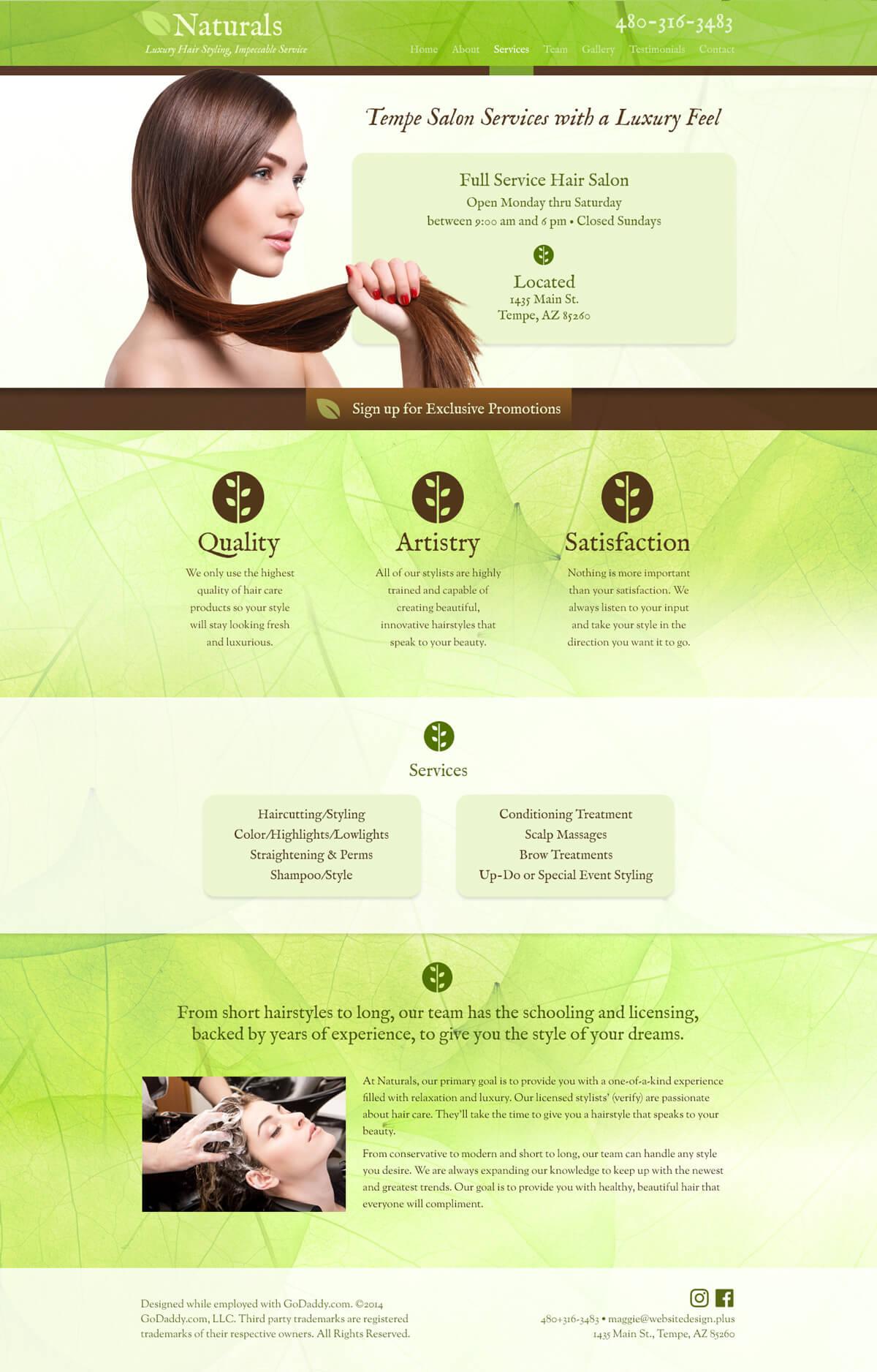 Naturals Salon web design mockup