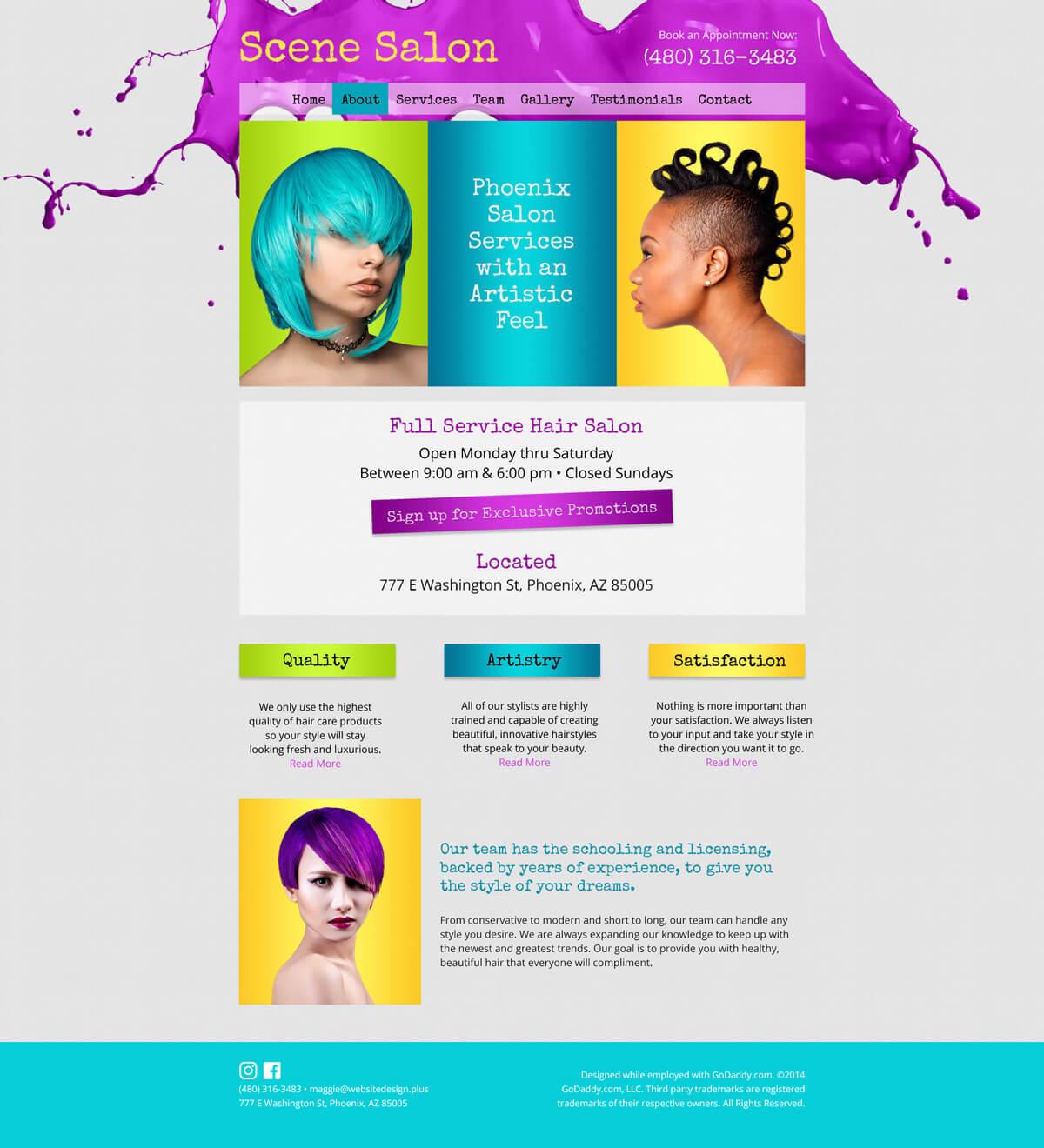 edgy salon web design mockup