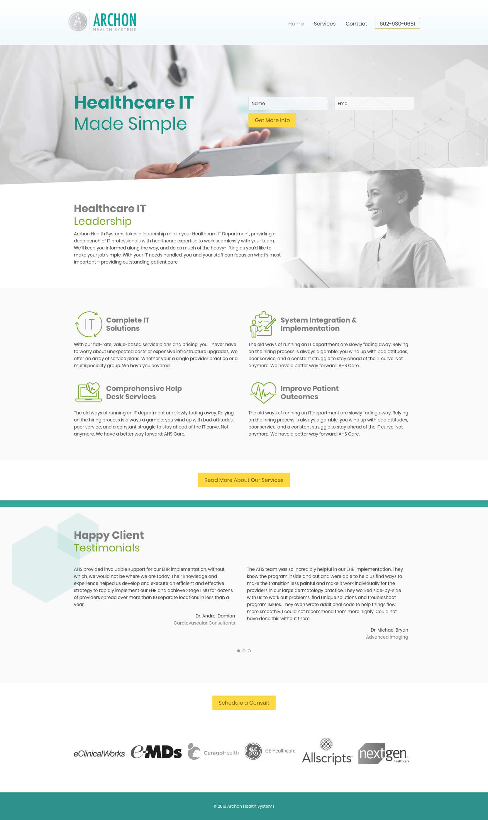 Web Design for Archon Health Systems