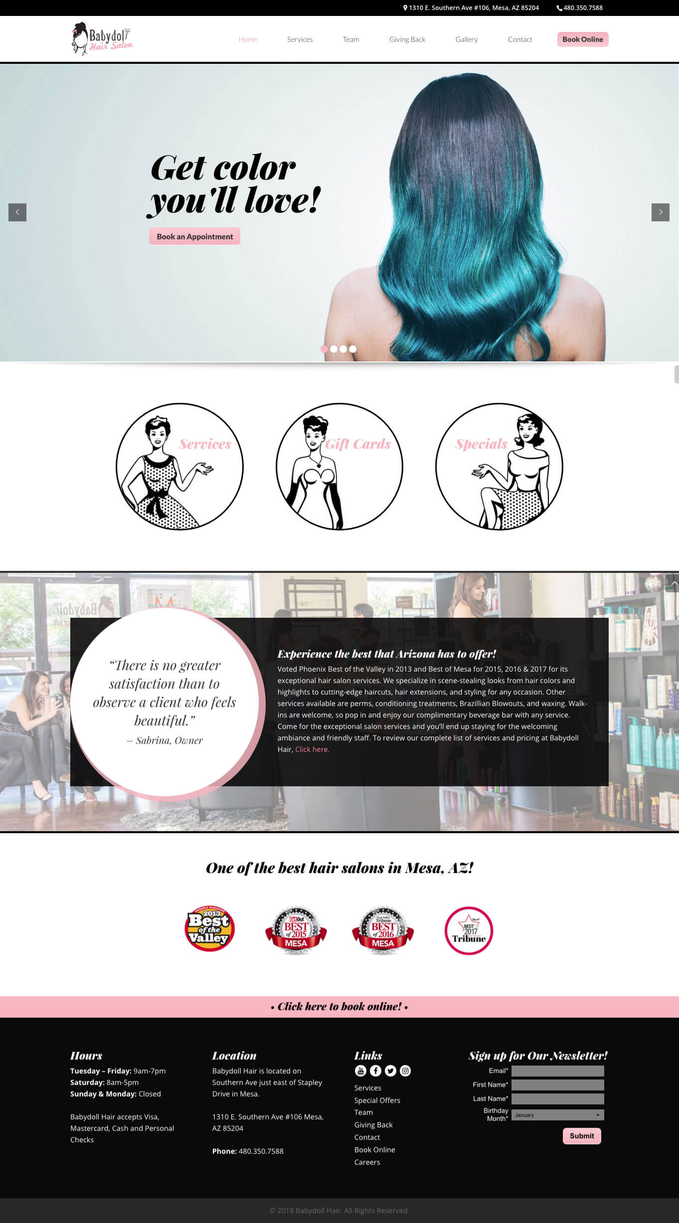 Babydoll Hair Website Concept