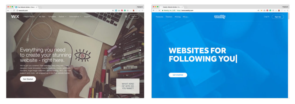 Wix and Weebly for small business websites