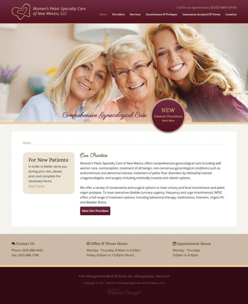 Womens pelvic specialty care of nm design concept